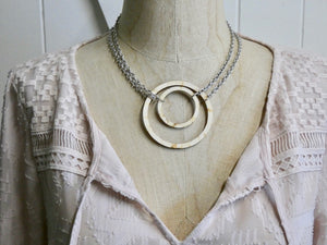 Wooden Circle Necklace, Medium Natural Birch Infinity Necklace, Silver Chain