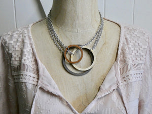 Wooden Circle Necklace, Small Chestnut Birch Infinity Necklace, Silver Chain
