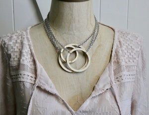 Wooden Circle Necklace, Large Natural Birch Infinity Necklace, Silver Chain