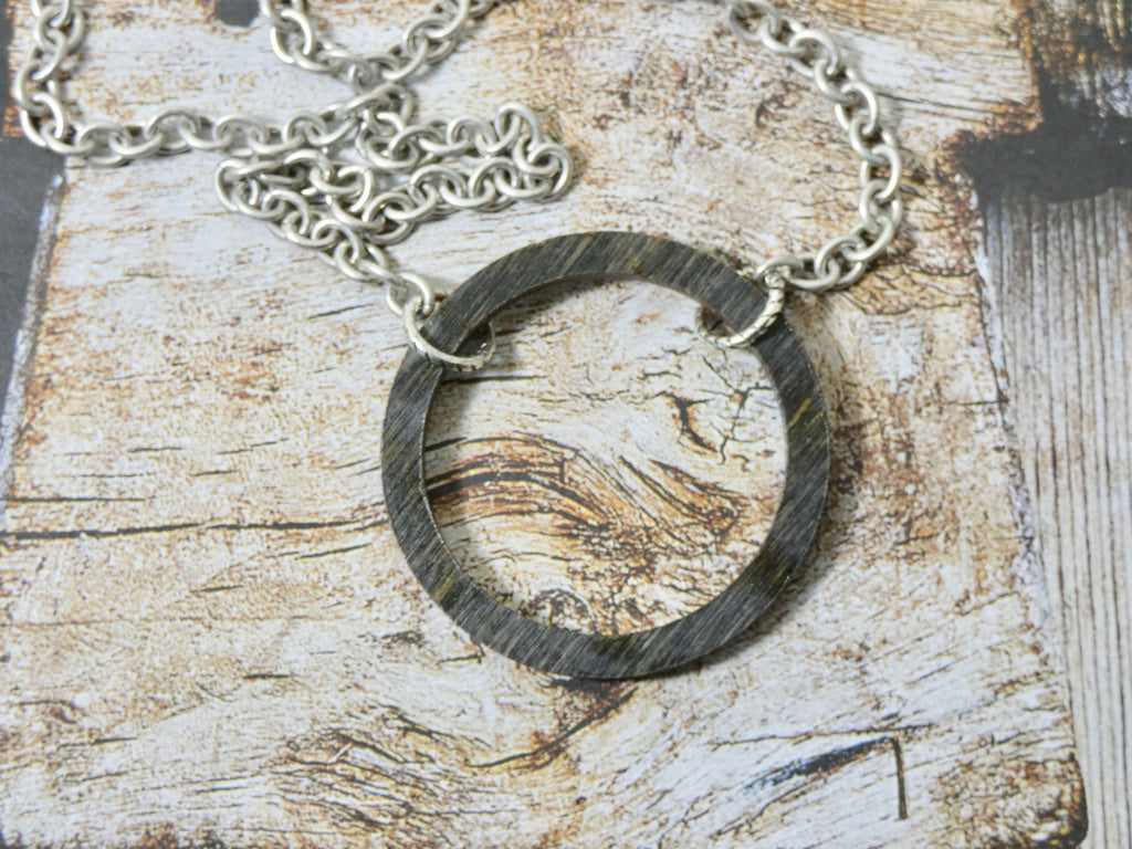 Wooden Circle Necklace, Small Ebony Birch Infinity Necklace, Silver Chain