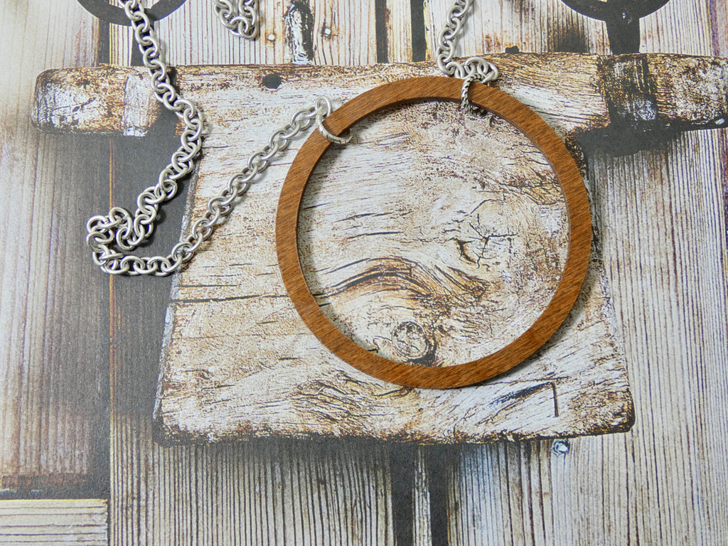 Wooden Circle Necklace, Large Chestnut Birch Infinity Necklace, Silver Chain