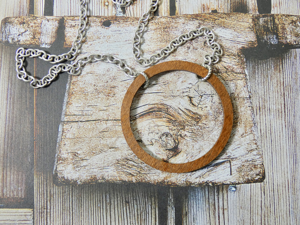 Wooden Circle Necklace, Medium Chestnut Birch Infinity Necklace, Silver Chain