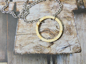 Wooden Circle Necklace, Small Natural Birch Infinity Necklace, Silver Chain