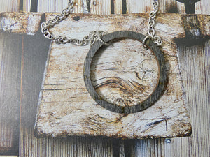 Wooden Circle Necklace, Medium Ebony Birch Infinity Necklace, Silver Chain