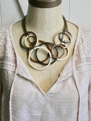 Wooden Circle Necklace, Multi - Strand, Mutli - Circles