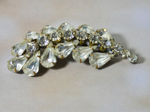 One of a Kind Vintage Rhinestone Pin, prong set crystal stones