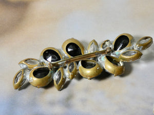 One of a Kind Vintage Black and Crystal Pin, prong set crystal stones