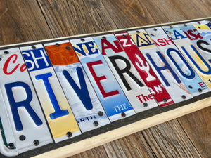 River House License Plate Sign, Custom Sign