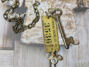One of a kind Cummins Engine Co Tag #3536 and Skeleton Key Necklace