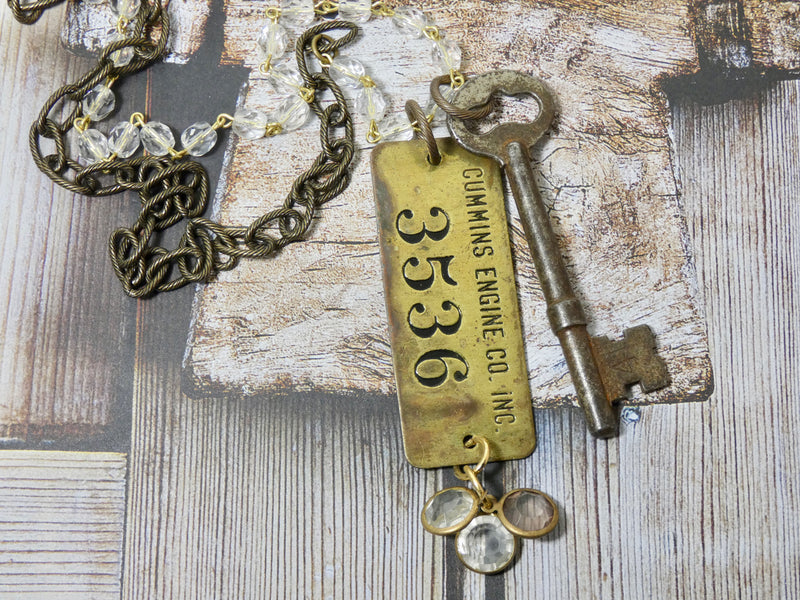 One of a kind Cummins Engine Co Tag and Skeleton Key Necklace