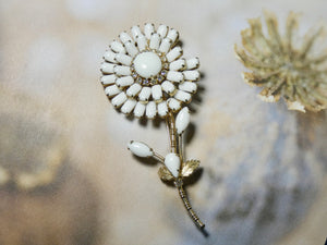 One of a Kind Vintage Pin, Stunning White Flower prong set stones