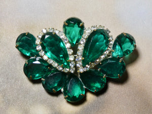 One of a Kind Vintage Green and Rhinestone Pin, prong set stones