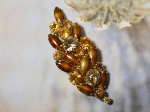 One of a Kind Vintage Brown and Topaz Pin, prong set stones