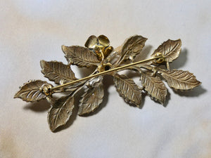 One of a Kind Vintage Rhinestone Brooch with antique Gold Leaf detail