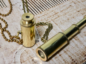 Telescope Necklace, Brass Looking Glass Necklace