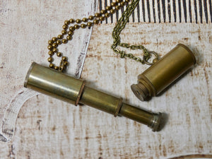 Telescope Necklace, Dark Brass Looking Glass Necklace