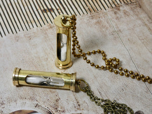 Sand Timer Necklace, Great Steampunk Brass Hour Glass Necklace