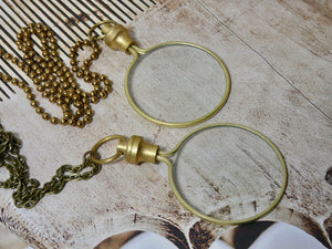 Magnifying Glass Necklace, Brass Pendant