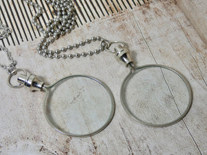 Magnifying Glass Necklace, Silver Pendant