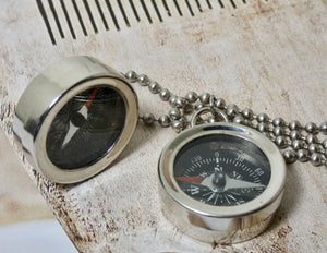 Compass Necklace, Brass or Silver Compass Pendant