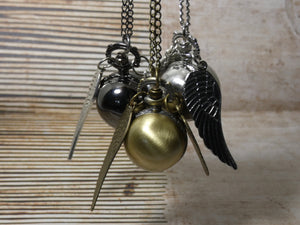 Golden Snitch Pocket Watch Necklace - Harry Potter Watch in Gold, Gunmetal or Silver