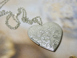 Heart Locket Necklace, Silver Heart Picture Locket