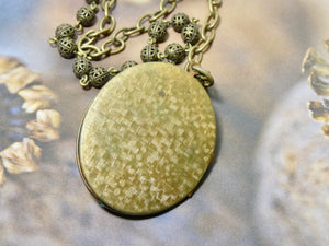 Picture Locket, Oval Vintage Cross Locket Necklace