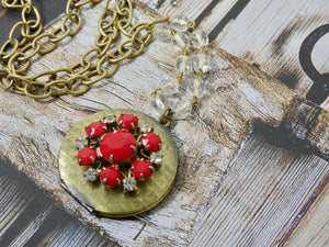 Picture Locket, Round Vintage Red and Brass Locket Necklace