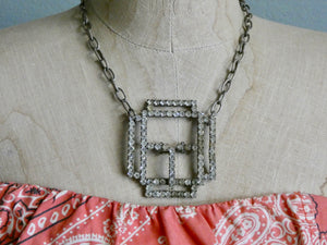 One of a Kind Vintage Rhinestone Belt Buckle Necklace