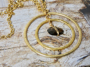 Double Circle Necklace, Gold Infinity Pendant
