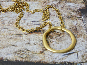 Circle Necklace, 14K Gold Plated Small Chunky Circle Infinity Pendant