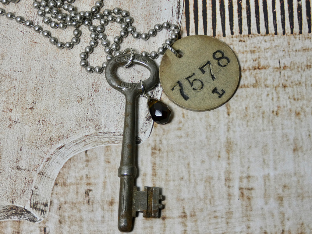 Skeleton Key and Coat Check Tag # 7578 Necklace