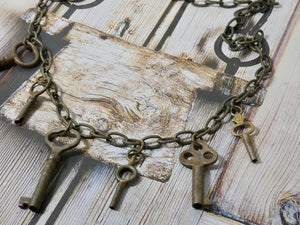 Vintage One Of a Kind Multi Skeleton Key Necklace