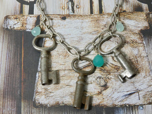 Vintage One of a Kind Multi Skeleton Key Necklace, Blue Bead accent