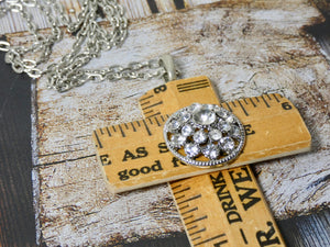 Cross Necklace - One of a Kind Vintage Wooden Ruler Pendant