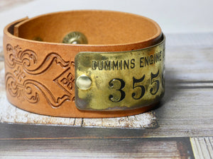 Leather Cuff Bracelet, Vintage Cummins Engine CO Brass Tag #3556