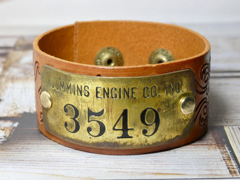 Leather Cuff Bracelet , Vintage Cummins Engine CO Brass Tag #3549