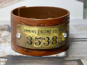Leather Cuff Bracelet, Vintage Cummins Engine CO Brass Tag  #3538