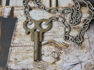 One of a Kind rare Clock Key Necklace, Silver Key Pendant