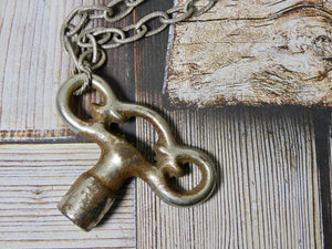 One of a Kind chunky Vintage Clock Key Necklace