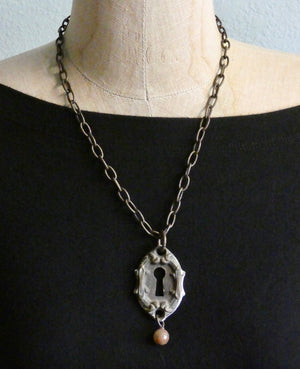 One of a Kind Vintage Key Hole Necklace, Detailed Key Cover Pendant