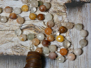 Lariat Style Necklace made with Rutilated Quartz