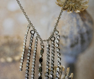 One of a Kind Vintage Rhinestone Fringe Necklace