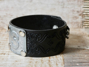 Leather Cuff Bracelet #3 Locker Number