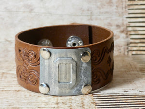 Leather Cuff Bracelet #0 Locker Number
