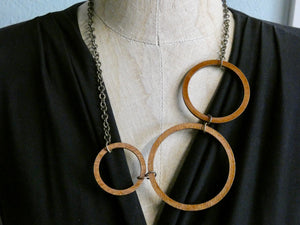 Circle Necklace- Three Circles in One necklace, Chestnut Birch Wood