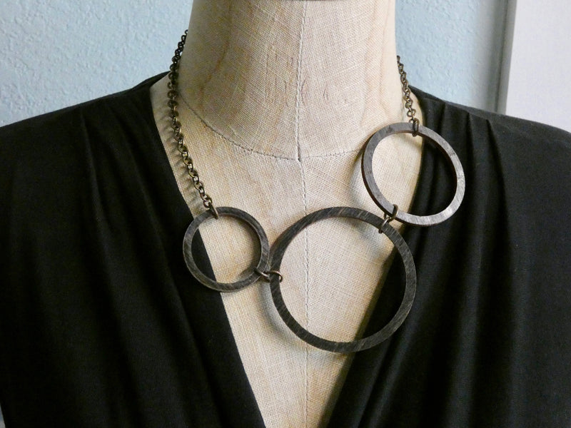 Circle Necklace- Three Circles in One necklace, Ebony colored Birch Wood