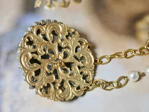 One of a Kind Vintage Necklace, Repurposed White Chalk Brooch