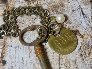 Vintage Skeleton Key and #688 Warehouse Tag Necklace