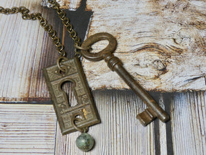 Vintage Skeleton Key and Key Hole Necklace